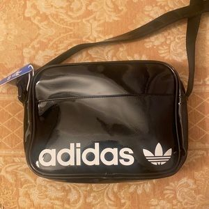 NWT Adidas Patent Black Airliner II Shoulder Bag